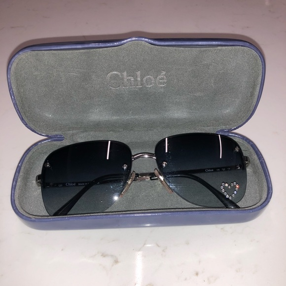 466d4085428fb Rare Vintage Chloe Sunglasses with Swarovski Heart